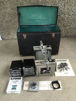 Kodak Master View Camera 4x5, rare complete kit, lenses, film holders, case