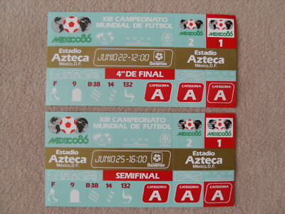Two Reproduction 1986 World Cup Quarter & Semi Final Unused Tickets