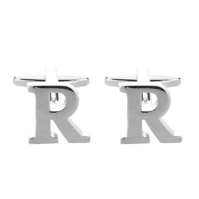 1 Pair of Personal Capital Letter R Silver Cuffls SS