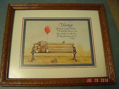 "Vintage Ken Gail Brown Print ""Blessings"" Framed"