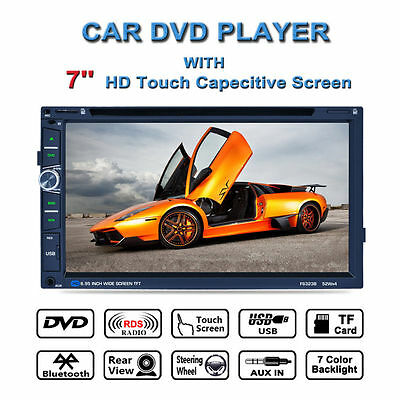 "7"" HD Touch Screen Double 2 DIN Car GPS Stereo DVD Player Bluetooth Radio+Camera"