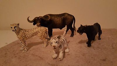 Schleich Animals, Buffalo, Cheetah, White tiger, Panther played with condition