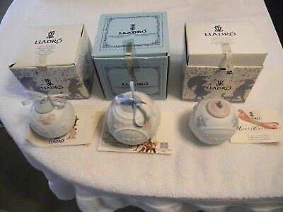 3 Lladro Orcelain 1990 - 1995 - 1997  Christmas Bell Ornaments - W/ Box