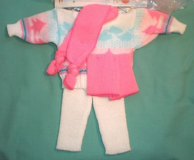 Puppenanzug mehrfarbig Strick Gr. 45/ doll suit knitted multicol.