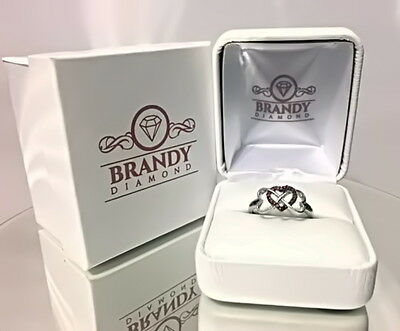 Brandy Diamond® Chocolate Brown Silver Double My Love Infinity Heart Ring .11Ct