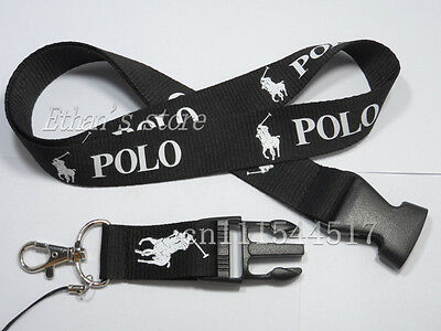 New Ralph RL Lauren Polo Black White Lanyard Detachable Keychain US SELLER