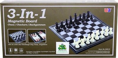 NEW 3 In 1 Magnetic Chess Checkers & Backgammon from Mr Toys