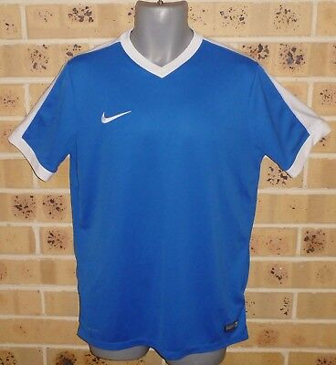 New Large NIKE Mens sport top Blue White Polyester Ex Shop Stock Dri fit