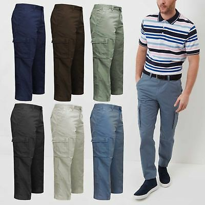 Mens BHS Brand Cargo Combat Trousers Cotton Work Multi Pockets Waist Sizes 32-46