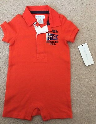 BNWT Polo Ralph Lauren Baby Boy 6 months Rugby Romper Shortall One piece Outfit
