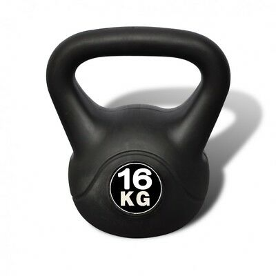 Workout Training Kettlebell Fitness Gym Home Indoors 16 Kg Weight Lifting Black