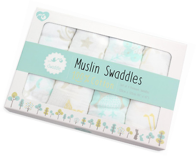 Pack of 4 x Large Unisex 100% Soft Cotton Baby Muslin Swaddle Blankets