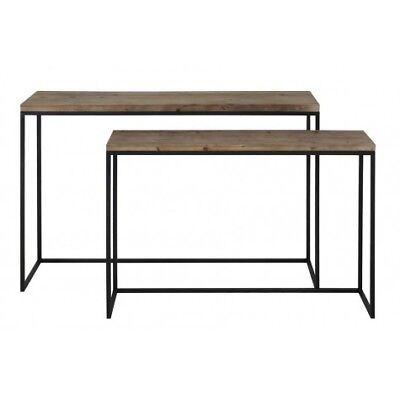 Design Side table S/2 max 120x40x79 cm CAMASCA Metall Schwarz+Holz (98496718412)