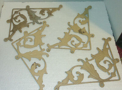 Lot Of 4 Vintage Ornate Cast Aluminum  Corner Brackets
