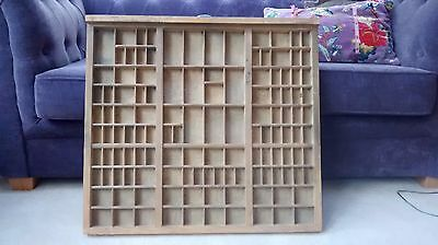Vintage wooden shadow box/ printers tray with 135 miniature spaces