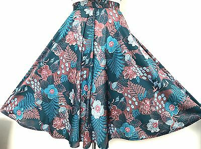 Vintage 1970s Green Teal Blue Pink Brown Peacock & Flowers Print Skirt 10-12