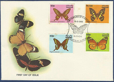 Pakistan 1983 Mnh Very Rare Fdc Butterflies Of Pakistan Butterfly Insect Insects