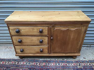 19th Century Small Stripped Pine Cupboard And Drawers