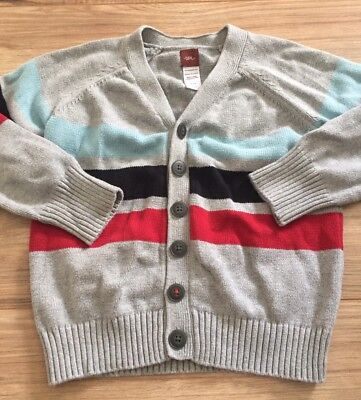 Tea Collection Boys Button Down Cardigan Sweater Size 5 Gray