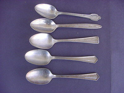 Lot Of 5 Vintage Silverplate Spoons From Kansas City, Mo. Hotels