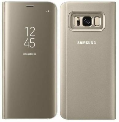Genuine Samsung Galaxy S8 Clear View Standing Cover Flip Case Wallet Gold