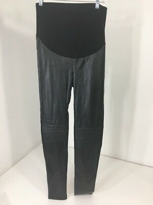 Noppies Women's Over The Belly Lillian Leather Look Leggings Blk Xs/s Nwt
