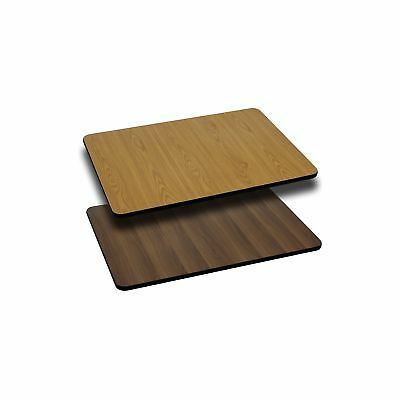 Flash Furniture 24'' x 30'' Rectangular Table Top with Natural or Walnut Reversi