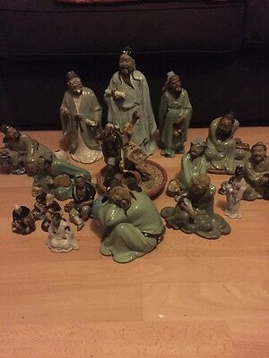 17 Oriental Stoneware Figures Japanese Chinese