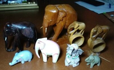 LOT of Elephants Wood Ceramic Balsa