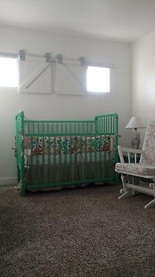 Antique Jenny Lind style crib, painted a bright, jade green