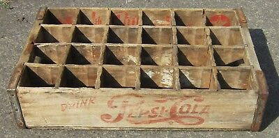 Vintage PEPSI COLA & 7-UP Wood/Wooden 24-Bottle CRATE Carrier DALLAS, TX