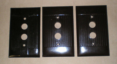 Vintage Brown Bakelite Light Switch Push Button Cover Plates Lot of 3