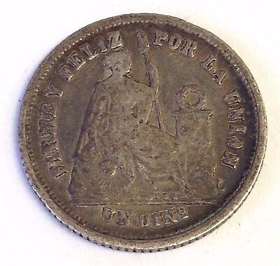 1866-YB Peru Un Dinero, Seated Liberty silver coin, KM190