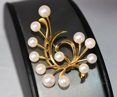 Heavy Mikimoto Cultured Pearl Clef Note Design Brooch Pin 14K Gold A33-400
