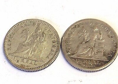 1894 & 1894-H Guatemala 1/2 Real, pair of Seated Justice .835 silver coins