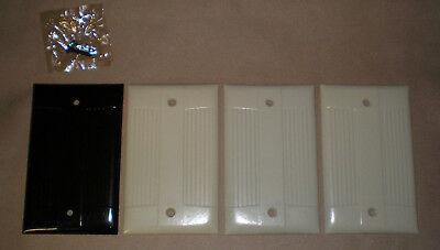 Vintage Bakelite Eagle Ivory & Brown Single Gang Blank Plate Covers Lot of 4