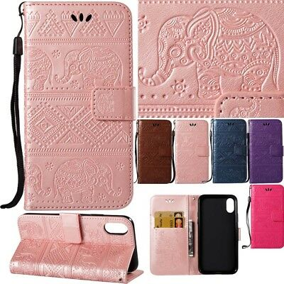 Elephant Embossed Pattern Folded Leather Wallet Flip Case For Various Phone