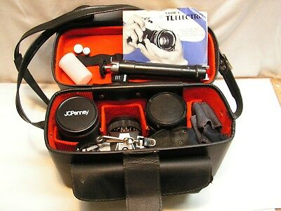 YASHICA TL ELECTRO 35mm Camera with lenses, accessories,tripod and case.