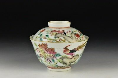 Signed Antique Chinese Famille Rose Porcelain Covered Rice Bowl 19th Century