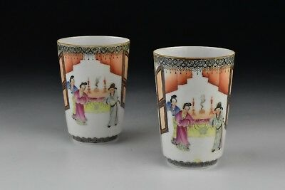 Pair Signed Antique  Chinese Famille Rose Porcelain Cups