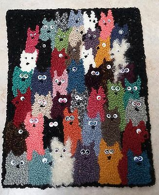 "Rug Hooking Pattern CATS CATS CATS on  Red Dot Fabric 17.5"" X  23"""