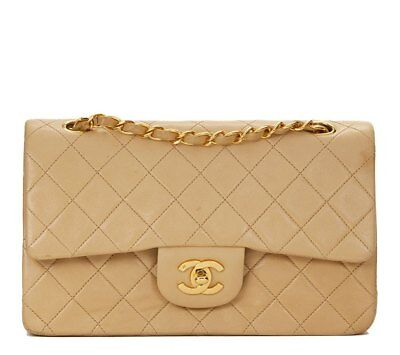 Chanel Beige Quilted Lambskin Vintage Small Classic Double Flap Bag Hb1230 ba7f9912d8c13