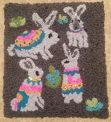 """Rug Hooking Pattern WABBITS on  Red Dot Fabric 15"""" x 17"""""""