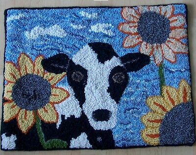 "Rug Hooking Pattern MOOOVE OVER COW on BURLAP 12"" X 16"""
