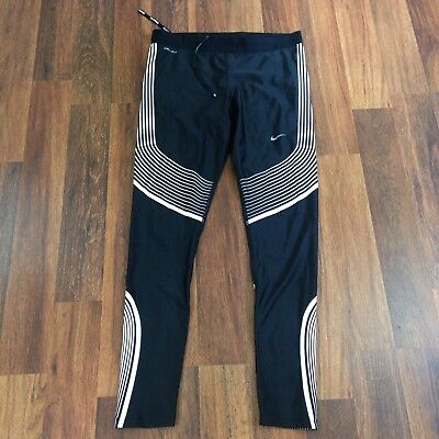 Women's Nike Dri Fit Black White Running Workout Leggings Size Large Mint!