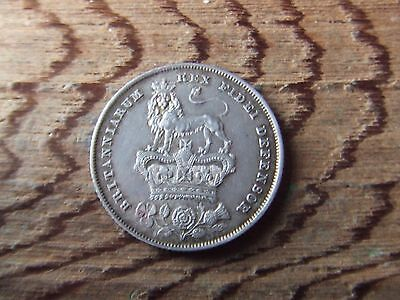 George Iv.   1826,  Silver Shilling.    Excellent Condition.  Nicely Toned.