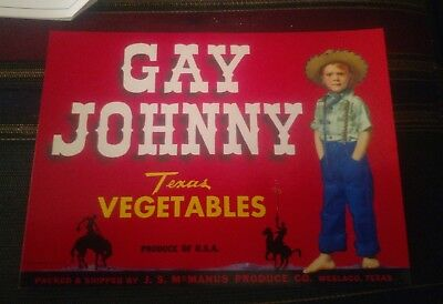 Crate Label Vintage Gay Johnny Cowboy Weslaco Texas 50S Western Wear Original