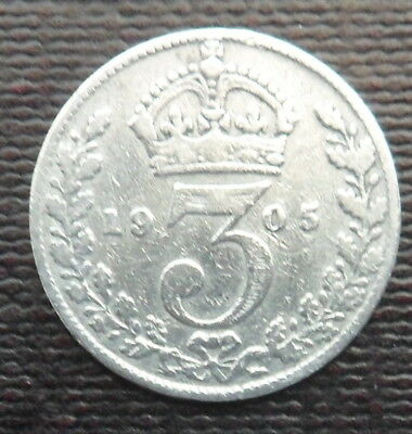 1905 Solid Silver Threepence Piece - King Edward Vii