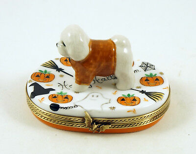 New French Limoges Box Cute Dressed Up Bichon Frise Dog Puppy On Halloween Box