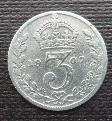 1907 Solid Silver Threepence Piece - King Edward Vii